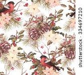 christmas retro seamless... | Shutterstock . vector #334697210