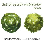 set of watercolor trees  top...