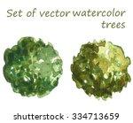 set of watercolor trees  top... | Shutterstock .eps vector #334713659