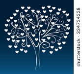white tree with hearts on a... | Shutterstock .eps vector #334724228