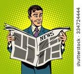man businessman reading news... | Shutterstock .eps vector #334724444