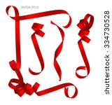 shiny red ribbon on white... | Shutterstock .eps vector #334730528