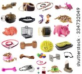 Stock photo pet accessories in front of white background 334732049