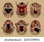 circus. vintage icons... | Shutterstock .eps vector #334739993