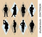 set of male silhouettes... | Shutterstock .eps vector #334750634
