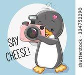 Cute Cartoon Penguin With A...