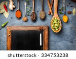 various spices like turmeric ... | Shutterstock . vector #334753238