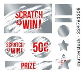 Letters scratch and win. With effect from scratch marks. Suitable for scratch card game and win. vector | Shutterstock vector #334761308