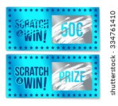 scratch card game and win. with ... | Shutterstock .eps vector #334761410