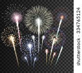 set of isolated  fireworks... | Shutterstock .eps vector #334765124