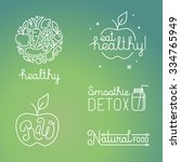 vector healthy food and organic ... | Shutterstock .eps vector #334765949