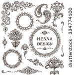 vector set of henna floral... | Shutterstock .eps vector #334774100