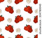 pattern made of garden roses.... | Shutterstock .eps vector #334780040