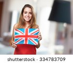 young woman holding an united... | Shutterstock . vector #334783709