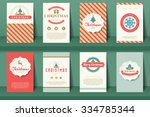 set of  christmas brochures in... | Shutterstock .eps vector #334785344
