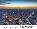 aerial view of paris at night | Shutterstock . vector #334796306