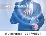 Small photo of Businessman pressing button on touch screen interface and select Assessment. Business, internet, technology concept.