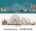 vector illustration. ferris... | Shutterstock .eps vector #334801898