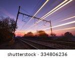 Passenger Train On Railroad...