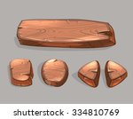 cartoon wooden buttons vector...