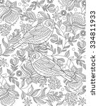hand drawn bird coloring page | Shutterstock .eps vector #334811933
