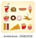 set of cartoon fast food... | Shutterstock .eps vector #334822928
