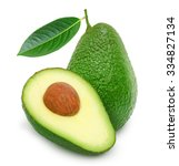 fresh green ripe avocado with...   Shutterstock . vector #334827134