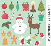 vector set of christmas  new... | Shutterstock .eps vector #334827644