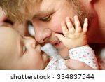 a happy father is playing with... | Shutterstock . vector #334837544