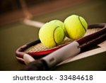 A Shot Of A Tennis Racquet And...