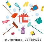 house cleaning. poster tools... | Shutterstock .eps vector #334854398