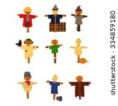 set of cartoon style scarecrows ... | Shutterstock .eps vector #334859180