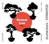 bonsai tree set vector   black... | Shutterstock .eps vector #334860920