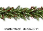 white card with fir branches.... | Shutterstock .eps vector #334863044