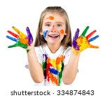 happy cute little girl with... | Shutterstock . vector #334874843