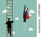 businessman superhero fly pass... | Shutterstock .eps vector #334893683