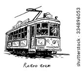 retro tram. picture of old... | Shutterstock .eps vector #334896053