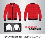 red plaid tracksuit design... | Shutterstock .eps vector #334896740