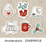 set of vintage christmas and... | Shutterstock .eps vector #334898918