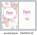 floral vintage invitation. pink ... | Shutterstock .eps vector #334902110