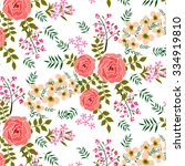 shabby chic rose patterns and... | Shutterstock .eps vector #334919810
