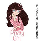 cute girl vector t shirt print... | Shutterstock .eps vector #334922078