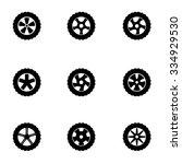 vector black wheel icon set | Shutterstock .eps vector #334929530