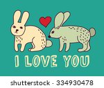 rabbits couple with hearts.... | Shutterstock .eps vector #334930478