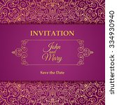 vector vintage invitation card... | Shutterstock .eps vector #334930940