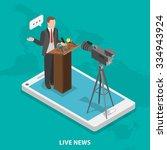 live news flat isometric vector ... | Shutterstock .eps vector #334943924
