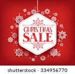 merry christmas sale in winter... | Shutterstock .eps vector #334956770