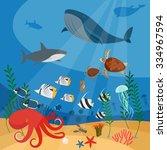 ocean underwater vector...   Shutterstock .eps vector #334967594