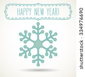 green snowflake and a frame... | Shutterstock .eps vector #334976690