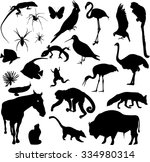 set of animal silhouettes | Shutterstock .eps vector #334980314